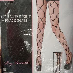 Hexagon net panty hose by legavenue